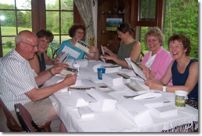 PFMS Board Members and volunteers stuffing envelopes for our 2010 fund raising mailing. They are (l to r) Bill Goodwin (BM), Ramona Branch (Vol), Kathy LaRiviere (Vol), Diana Jacobs (BM), Vance Finch (BM), Dorine Ryner (BM). Photo by Deb McWethy (BM).